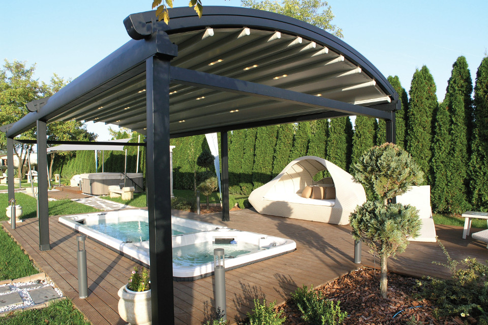Skycover Arch Free Standing Retractable Pergola System For
